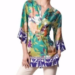 CAbi 100% Silk Poetry Tunic Floral Print Small